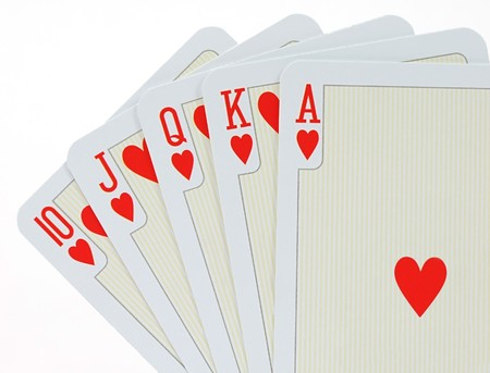 Playing cards over white photo