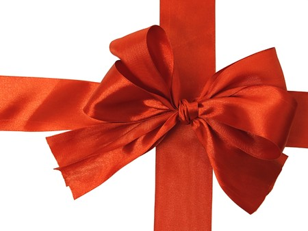 Ornamental bow over white