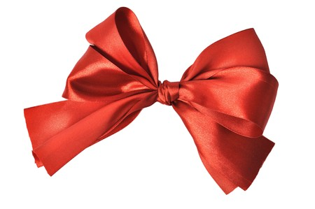 Red ornamental bow over white