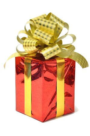 Red gift over white photo
