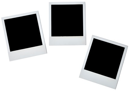 black and white photograph: Blank photoframe over white