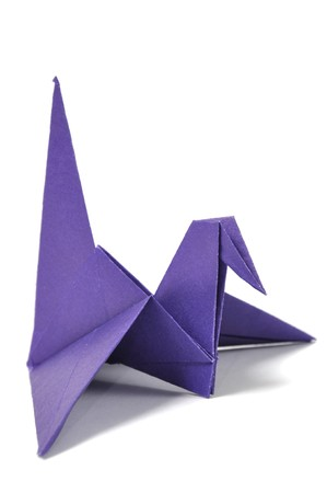 origami bird: Origami crane over white Stock Photo