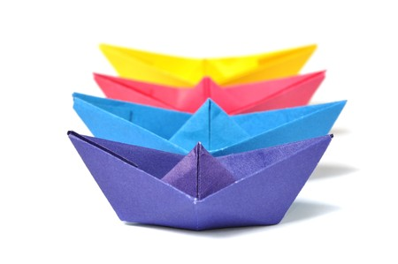 Close up origami ship over white Stock Photo - 8026639