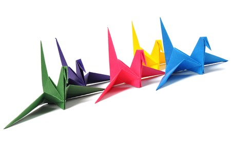 Origami cranes over white Stock Photo