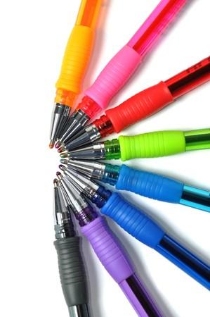 ballpen: Assortment of colored ball-pen over white