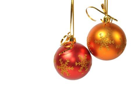 Two christmas ball over white