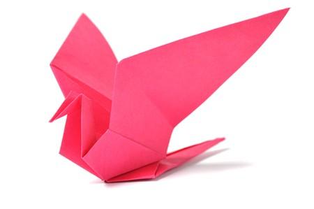 uccello origami: Origami uccello over white Archivio Fotografico