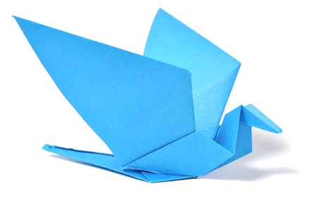 origami bird: Origami bird over white Stock Photo