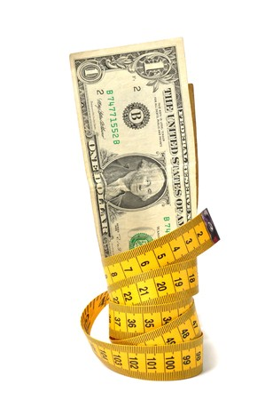 Dollar banknote and measure tape Stock Photo - 8098773