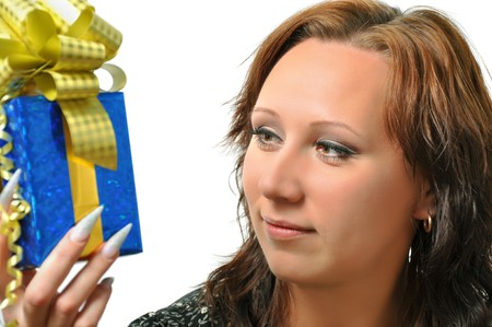 Woman with gift over white Stock Photo - 8098850