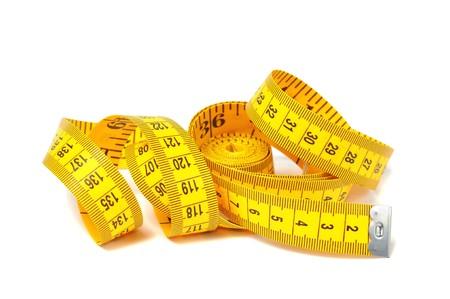 Measure tape over white photo
