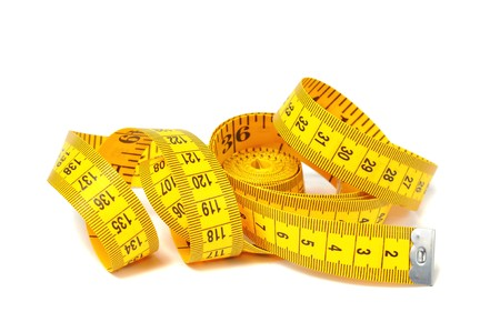 tape line: Measure tape over white Stock Photo
