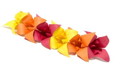 Origami flowers isolated on white background