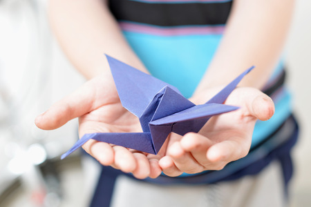 Origami crane in children photo