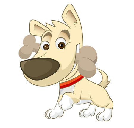 Cartoon Dog With Bone Stock Photo
