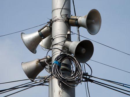 Sound speaker on pole and blue sky Stock Photo - 4634036