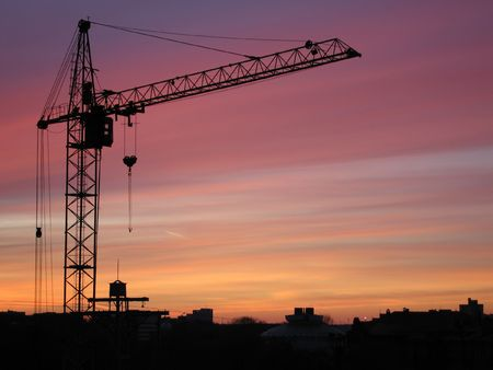 Tower crane with steel hook building metal construction photo
