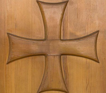 Old wood church door with religion cross photo