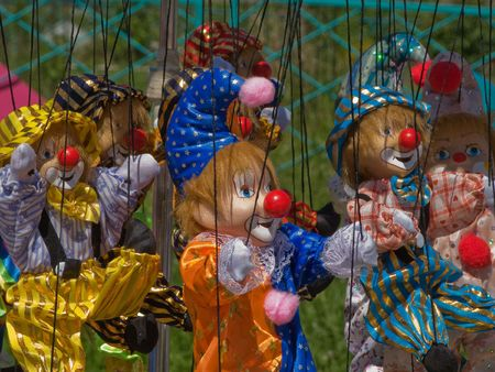 puppet show: Puppet toy on string for human doll performance