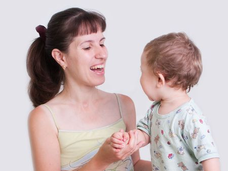 Smiling mother and little child in family hapiness Stock Photo - 5226530