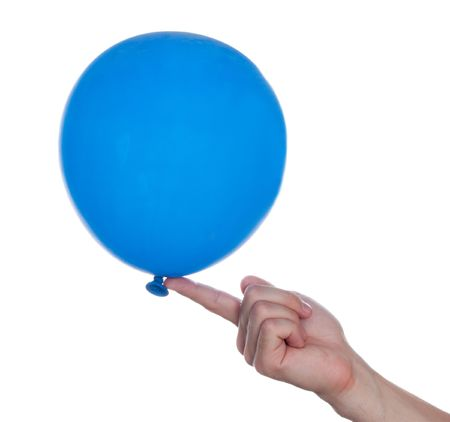 Blue color balloon in human hand on fun party Stock Photo - 5283860