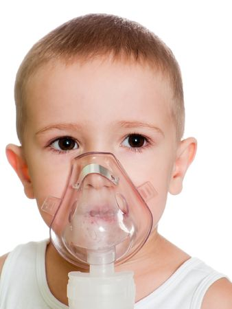 inhaling: Medical equipment - inhaling mask on child Stock Photo