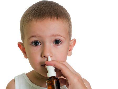sinusitis: Medicine nasal spray for flu and cold healthcare Stock Photo