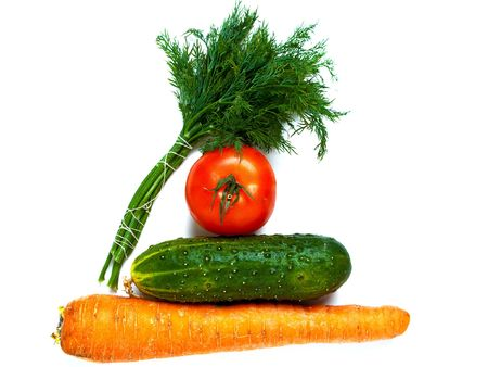Vegetable food - tomato, cucumber, carrot, dill photo