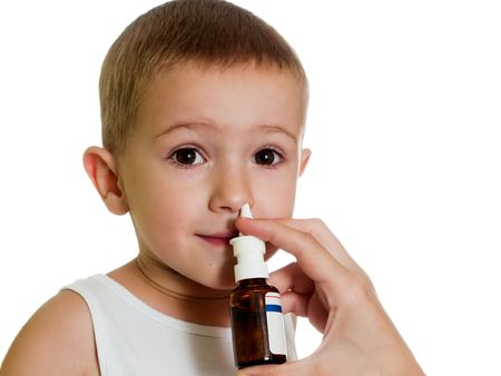 Medicine nasal spray for flu and cold healthcare Stock Photo