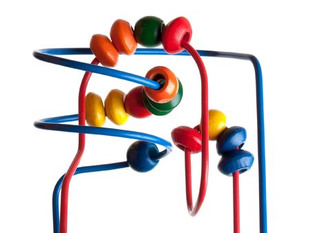 Child counting learning multi color wood bead toy photo