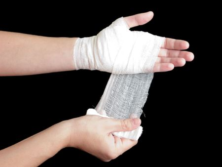 White medicine bandage on human injury hand photo