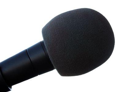 Studio equipment - black sound microphone isolated photo