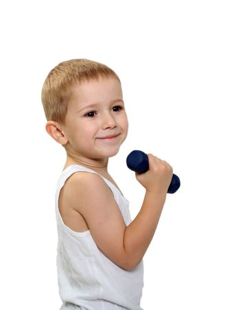 Healthy lifestyle child exercising dumbbell weight Stock Photo - 5636383
