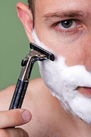 shaving blade: Beauty men with razor shaving blade cutting hair Stock Photo