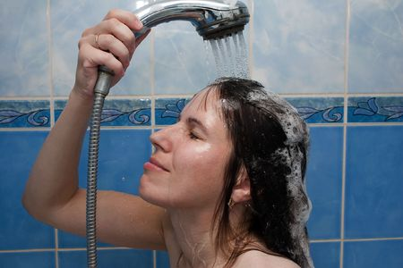 Beauty women take shower in bathroom for hair care Stock Photo - 5693255