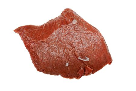 Meat food - red raw beef isolated on white photo
