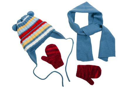 mitten: Cold winter clothing - hat or cap, scarf, mitten