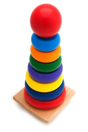 Learning child wood color block pyramid toy photo
