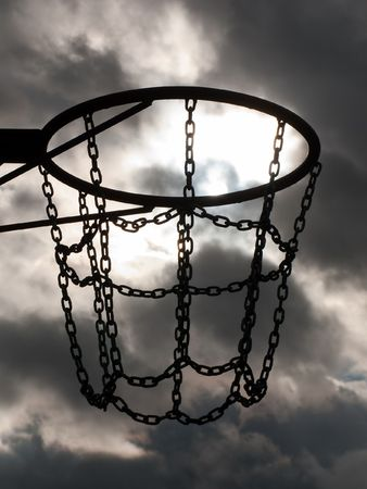 Team playing sport basketball hoop and net on sky photo