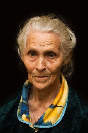 80 years: Aging process - very old senior women smiling face Stock Photo
