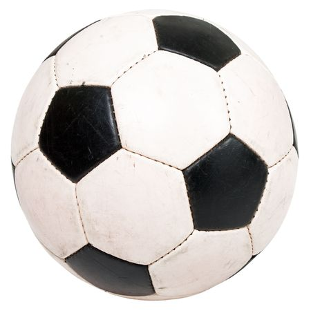 Black white football or soccer sport ball isolated photo