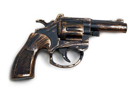 war crimes: Handgun weapon - crime gun toy isolated on white Stock Photo
