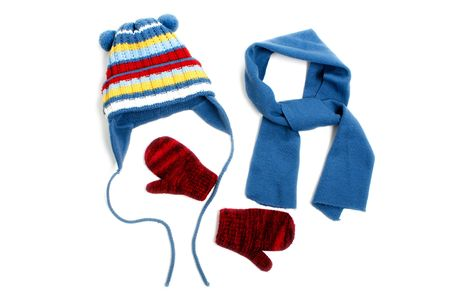 Cold winter clothing - hat or cap, scarf, mitten photo