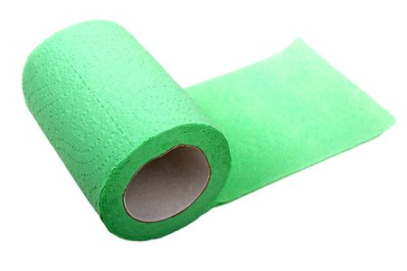Rolled public toilet hygiene paper white isolated photo