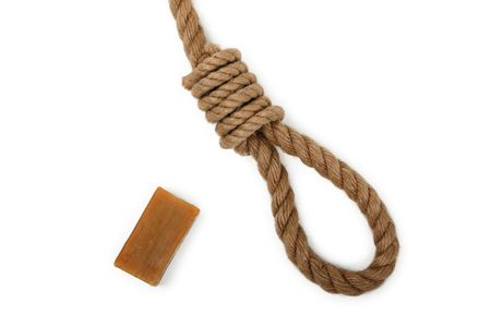 Gallows hanging rope knot tied noose and soap bar photo