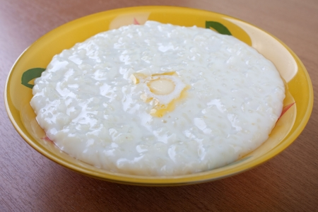 kasha: Cereal food - healthy eating white milk rice cream