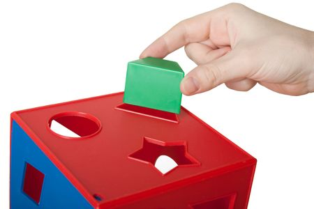 Learning leisure game red plastic block cube toy Stock Photo - 6616279