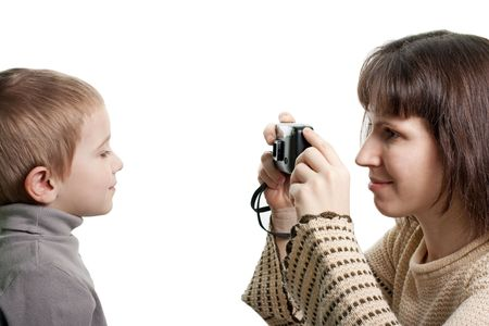 Women camera taking cute smiling child photograph Stock Photo - 6607598