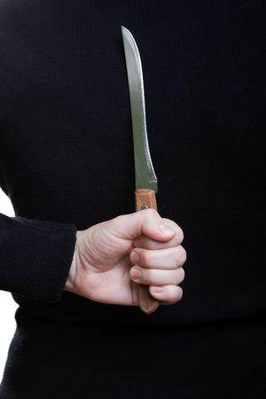 Murderer human hand holding kitchen knife weapon photo