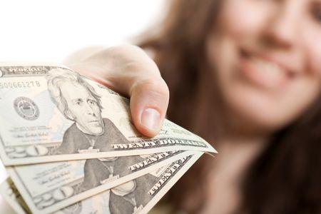 Finance businesswomen hand holding dollar currency Stock Photo